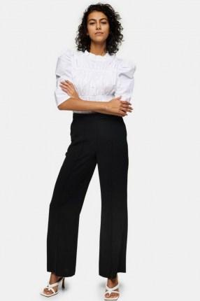 TOPSHOP Black Seam Wide Leg Trousers | smart front seamed pants