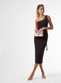 MISS SELFRIDGE Black 1 Shoulder Ribbed Midi Bodycon Dress – lbd – asymmetric neckline evening dresses