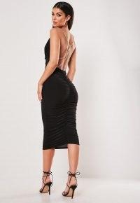 MISSGUIDED black slinky chain detail cowl midi dress ~ lbd