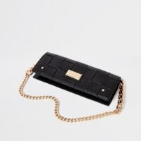 River Island Black woven baguette clutch bag | elongated chain strap bags