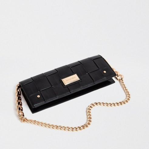 River Island Black woven baguette clutch bag | elongated chain strap bags - flipped