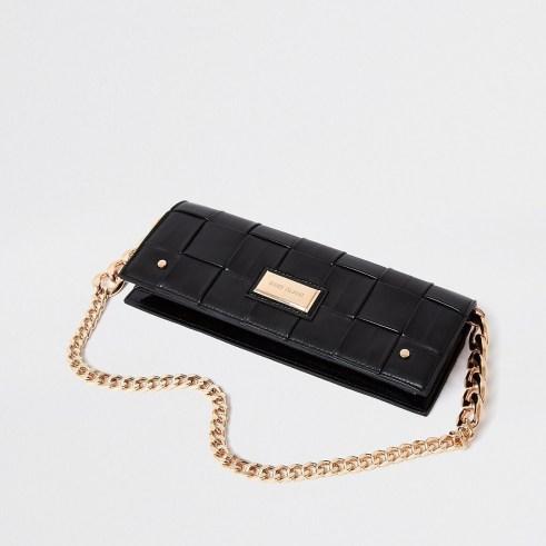 River Island Black woven baguette clutch bag | elongated chain strap bags
