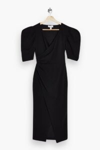 TOPSHOP Black Wrap Crepe Midi Dress – lbd