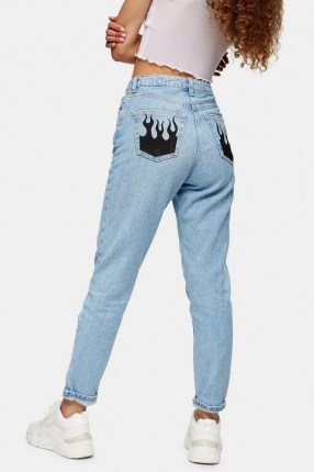 Topshop Bleach Fire Pocket Mom Tapered Jeans | printed pocket jeans - flipped