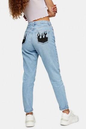 Topshop Bleach Fire Pocket Mom Tapered Jeans | printed pocket jeans
