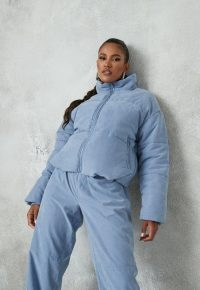 MISSGUIDED blue co ord peached puffer jacket ~ padded jackets