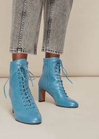 WHISTLES DAHLIA BLUE LEATHER LACE UP BOOT / ankle boots / booties