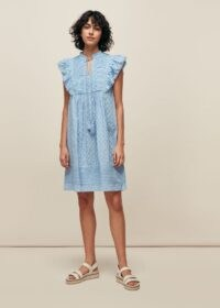 WHISTLES PINTUCK FRILL COTTON DRESS BLUE / ruffle detail summer dresses