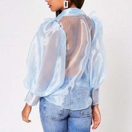 River Island Blue Puff Sleeve Organza Shirt | sheer voluminous shirts - flipped