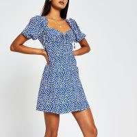 RIVER ISLAND Blue short sleeve spot print mini tea dress