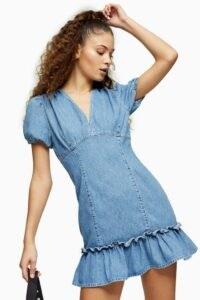 TOPSHOP Blue V Neck Frill Hem Denim Mini Dress – frills and ruffles