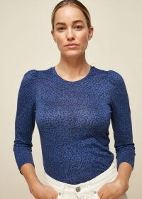 WHISTLES OCELOT PRINT PUFF SLEEVE TOP BLUE/MULTI