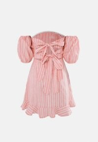 Missguided blush stripe tie back ruffle hem dress – back detail bardot dresses