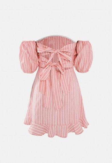 Missguided blush stripe tie back ruffle hem dress – back detail bardot dresses - flipped