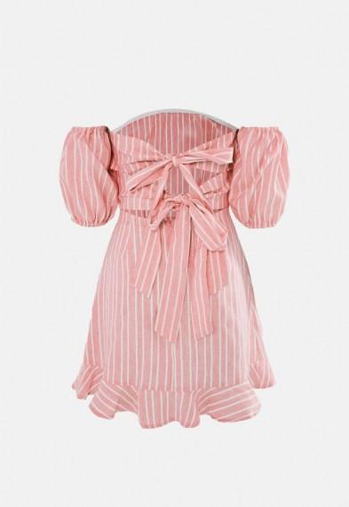 Missguided blush stripe tie back ruffle hem dress – back detail bardot dresses