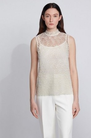 HUGO BOSS Floral-lace sleeveless top with stand collar – sheer overlay high neck tops - flipped