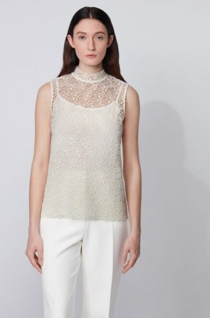 HUGO BOSS Floral-lace sleeveless top with stand collar – sheer overlay high neck tops
