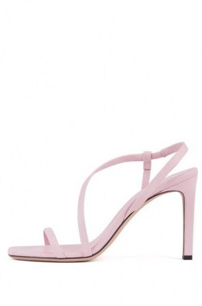HUGO BOSS High-heeled sandals in nappa leather with asymmetric strap in light pink – asymmetrical front strap slingbacks - flipped