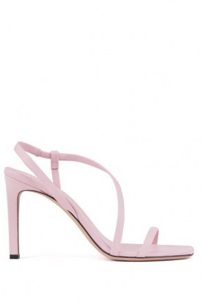 HUGO BOSS High-heeled sandals in nappa leather with asymmetric strap in light pink – asymmetrical front strap slingbacks
