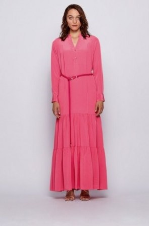 HUGO BOSS Maxi dress in silk georgette with hardware-trimmed belt in pink – long tiered dresses - flipped