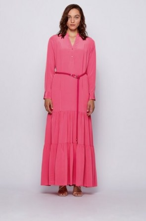 HUGO BOSS Maxi dress in silk georgette with hardware-trimmed belt in pink – long tiered dresses