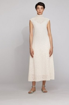 HUGO BOSS Midi dress in floral lace with mock neckline in white – semi sheer overlay dresses – high neck - flipped