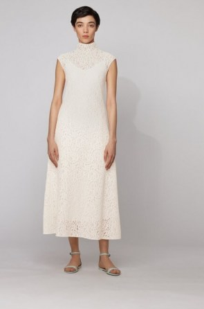 HUGO BOSS Midi dress in floral lace with mock neckline in white – semi sheer overlay dresses – high neck