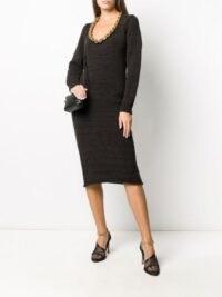 Bottega Veneta chain neckline knitted dress in black / LBD