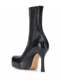 Bottega Veneta square toe black leather ankle boot | retro platform boots | 70s vintage look footwear