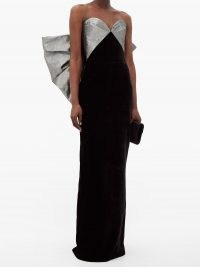RASARIO Bow-embellished velvet column gown – statement bows – luxury evening gowns – event glamour