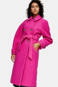 TOPSHOP Bright Pink Boucle Trench ~ hot colours ~ belted coats