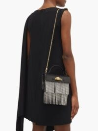 GUCCI Broadway crystal-fringe black leather shoulder bag ~ luxe fringed evening bags ~ add a touch of glamour to an elegant soirée