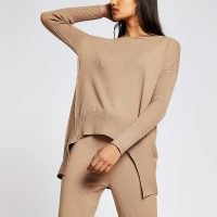 river island Brown long sleeve jumper ~ part ribbed jumpers ~ loungewear tops ~ high low hem pullover ~ casual fashion