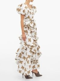 RODARTE Butterfly-print flounced-cloqué maxi skirt in white ~ long ruffled skirts