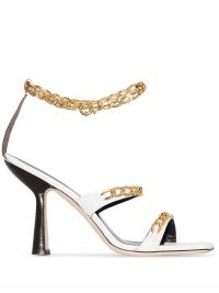 BY FAR Gina 100mm chain-trim sandals in white – leather ankle chain high heels – sculpted heels