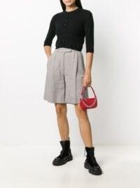 BY FAR Rachel red crocodile-effect shoulder bag / mini handbag / chain link top handle bags / accessories / small croc embossed handbags / crocodile effect leather