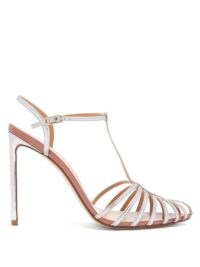 FRANCESCO RUSSO Caged leather stiletto sandals in silver / metallic t-bar sandal / stilettos / strappy high heels