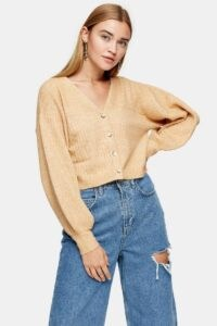 Topshop Camel Balloon Sleeve Cropped Knitted Cardigan | neutral crop legnth cardigans