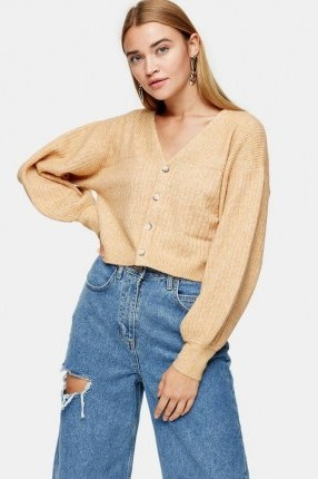 Topshop Camel Balloon Sleeve Cropped Knitted Cardigan   neutral crop legnth cardigans - flipped