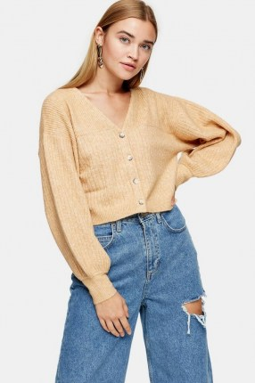 Topshop Camel Balloon Sleeve Cropped Knitted Cardigan   neutral crop legnth cardigans