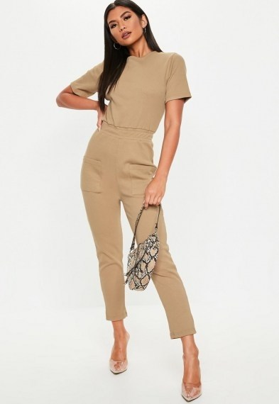 Missguided camel jersey rib pocket front jumpsuit – utility style jumpsuits - flipped