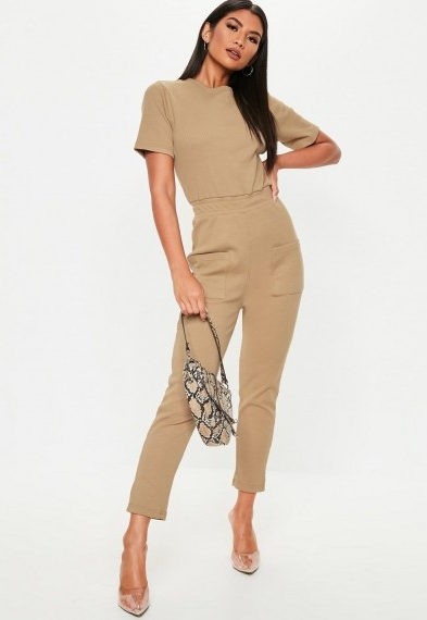 Missguided camel jersey rib pocket front jumpsuit – utility style jumpsuits