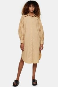 TOPSHOP Camel Oversized Midi Shirt Dress ~ curved hem dresses