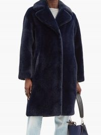 STAND STUDIO Camille navy faux-fur coat ~ glamorous blue winter coats