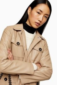 TOPSHOP Caramel Brown Faux Leather Tie Shirt ~ luxury look shirts ~ utility style shacket