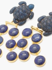 BEGUM KHAN Caretta Mustique 24kt gold-plated clip earrings / blue stone statement jewellery / lapis lazuli drops / crystal turtle drops