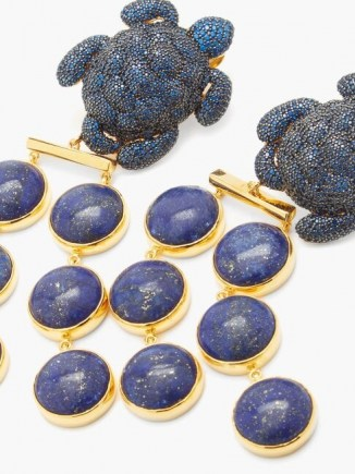BEGUM KHAN Caretta Mustique 24kt gold-plated clip earrings / blue stone statement jewellery / lapis lazuli drops / crystal turtle drops