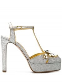 Casadei embellished Mary Jane pumps – silver crystal coverd t-bar platforms