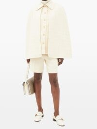 GUCCI Ivory chain-embellished cotton-blend tweed cape jacket ~ neutral point collar capes