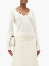 BOTTEGA VENETA Chain-trim scoop-neck wool sweater in cream / necklace attached sweaters / embellished knitwear / chunky chains